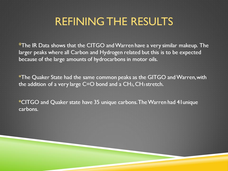 REFINING THE RESULTS * The IR Data shows that the CITGO and Warren have a very similar makeup.