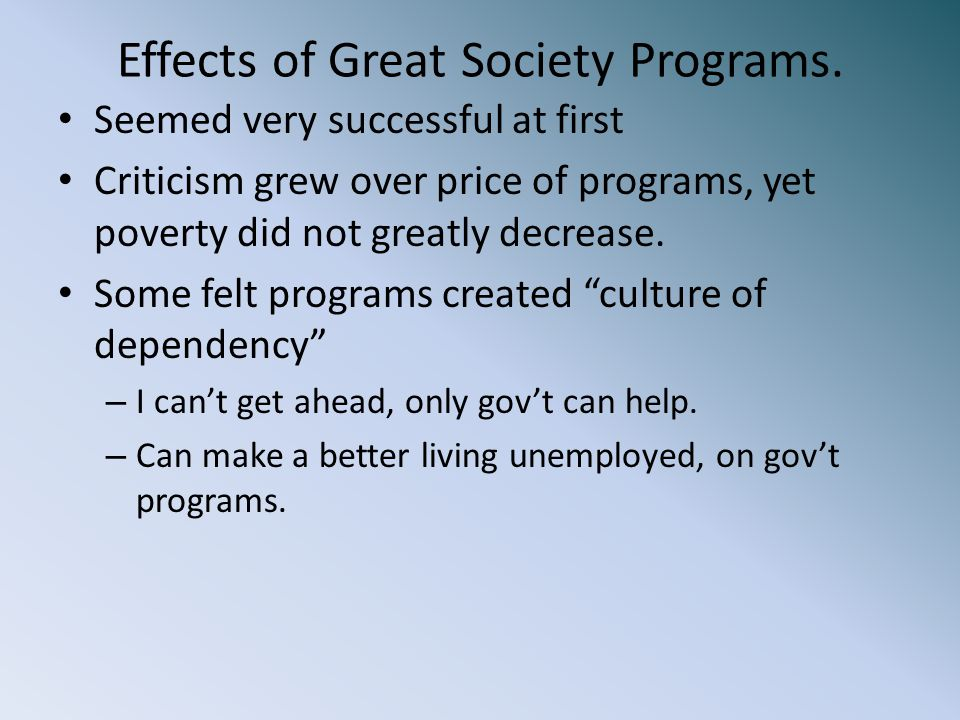 Effects of Great Society Programs.