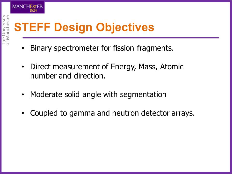 STEFF Design Objectives Binary spectrometer for fission fragments. Direct measurement of Energy, Mass, Atomic number and direction. Moderate solid ang