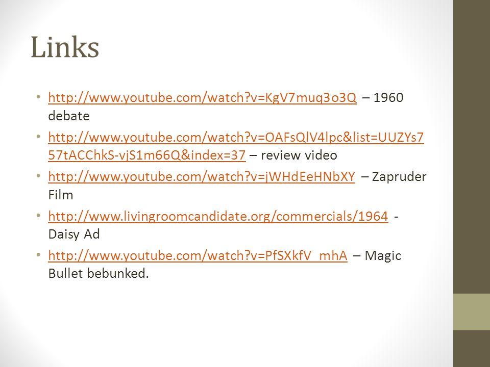 Links http://www.youtube.com/watch?v=KgV7muq3o3Q – 1960 debate http://www.youtube.com/watch?v=KgV7muq3o3Q http://www.youtube.com/watch?v=OAFsQlV4lpc&l