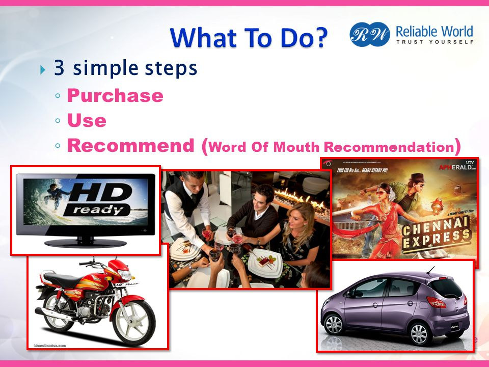  3 simple steps ◦ Purchase ◦ Use ◦ Recommend ( Word Of Mouth Recommendation )