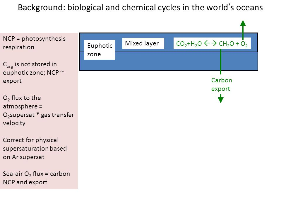 Background: biological and chemical cycles in the world's oceans Euphotic zone CO 2 +H 2 O  CH 2 O + O 2 Carbon export Mixed layer NCP = photosynthesis- respiration C org is not stored in euphotic zone; NCP ~ export O 2 flux to the atmosphere = O 2 supersat * gas transfer velocity Correct for physical supersaturation based on Ar supersat Sea-air O 2 flux = carbon NCP and export