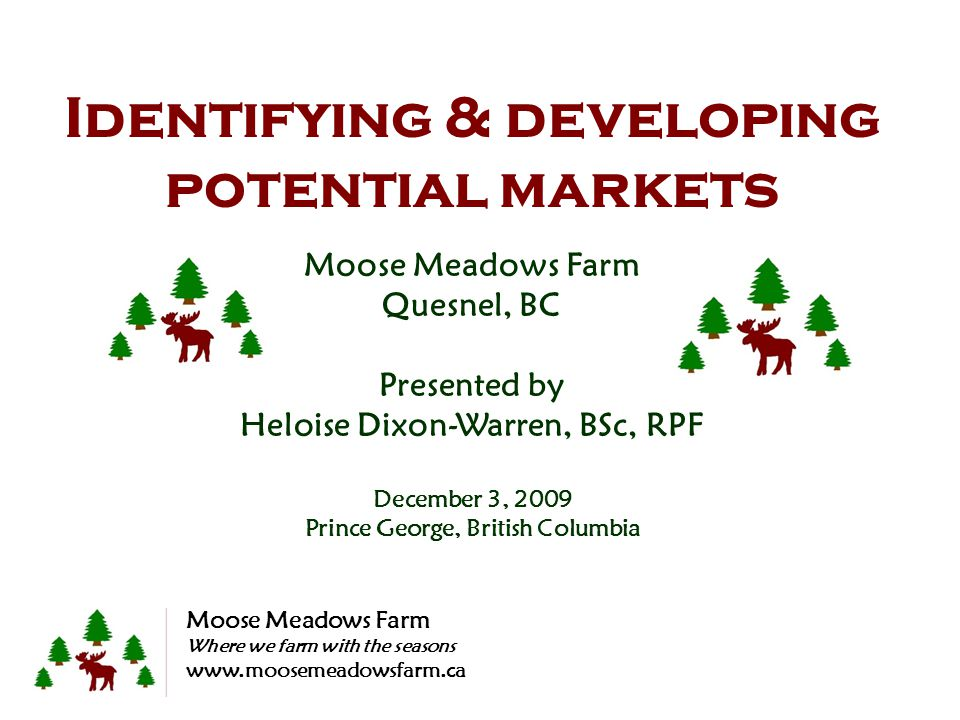 Identifying & developing potential markets Moose Meadows Farm Quesnel, BC Presented by Heloise Dixon-Warren, BSc, RPF December 3, 2009 Prince George, British Columbia Moose Meadows Farm Where we farm with the seasons www.moosemeadowsfarm.ca