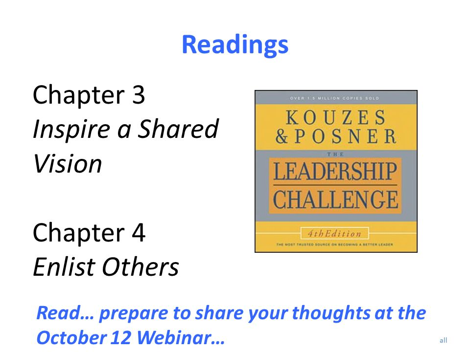 Readings Chapter 3 Inspire a Shared Vision Chapter 4 Enlist Others Read… prepare to share your thoughts at the October 12 Webinar… all