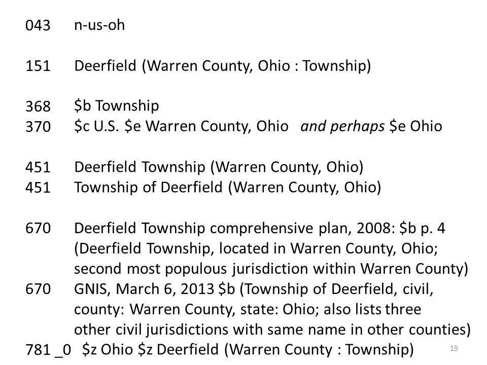 043 151 368 370 451 670 Deerfield Township comprehensive plan, 2008: $b p. 4 (Deerfield Township, located in Warren County, Ohio; second most populous