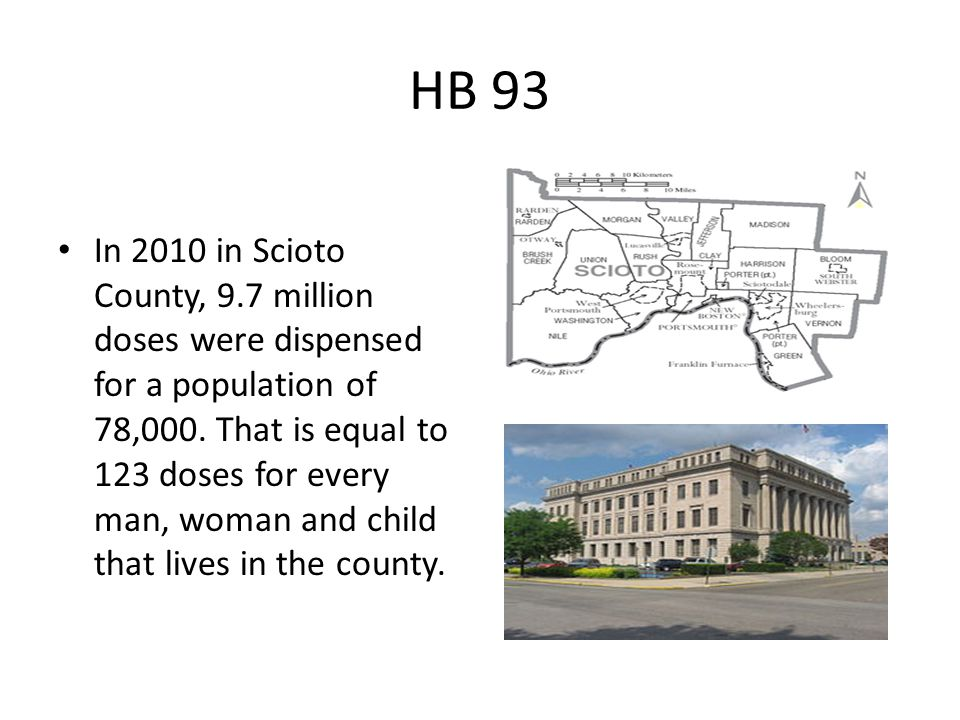 HB 93 In 2010 in Scioto County, 9.7 million doses were dispensed for a population of 78,000.