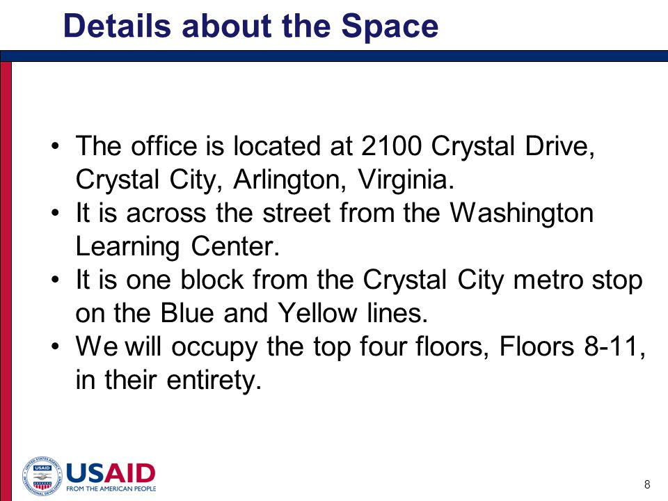 The office is located at 2100 Crystal Drive, Crystal City, Arlington, Virginia.