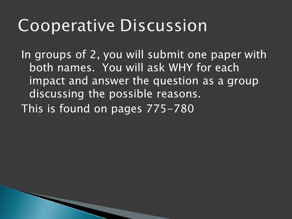 In groups of 2, you will submit one paper with both names. You will ask WHY for each impact and answer the question as a group discussing the possible