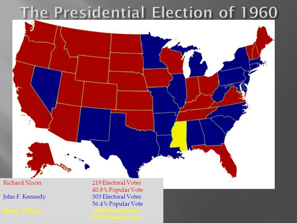 Richard Nixon219 Electoral Votes 40.8% Popular Vote John F.