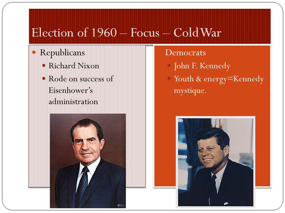 Republicans Richard Nixon Rode on success of Eisenhower's administration Republicans Richard Nixon Rode on success of Eisenhower's administration Democrats John F.