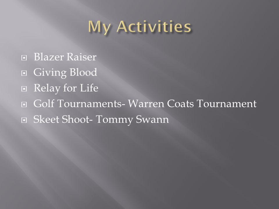  Blazer Raiser  Giving Blood  Relay for Life  Golf Tournaments- Warren Coats Tournament  Skeet Shoot- Tommy Swann
