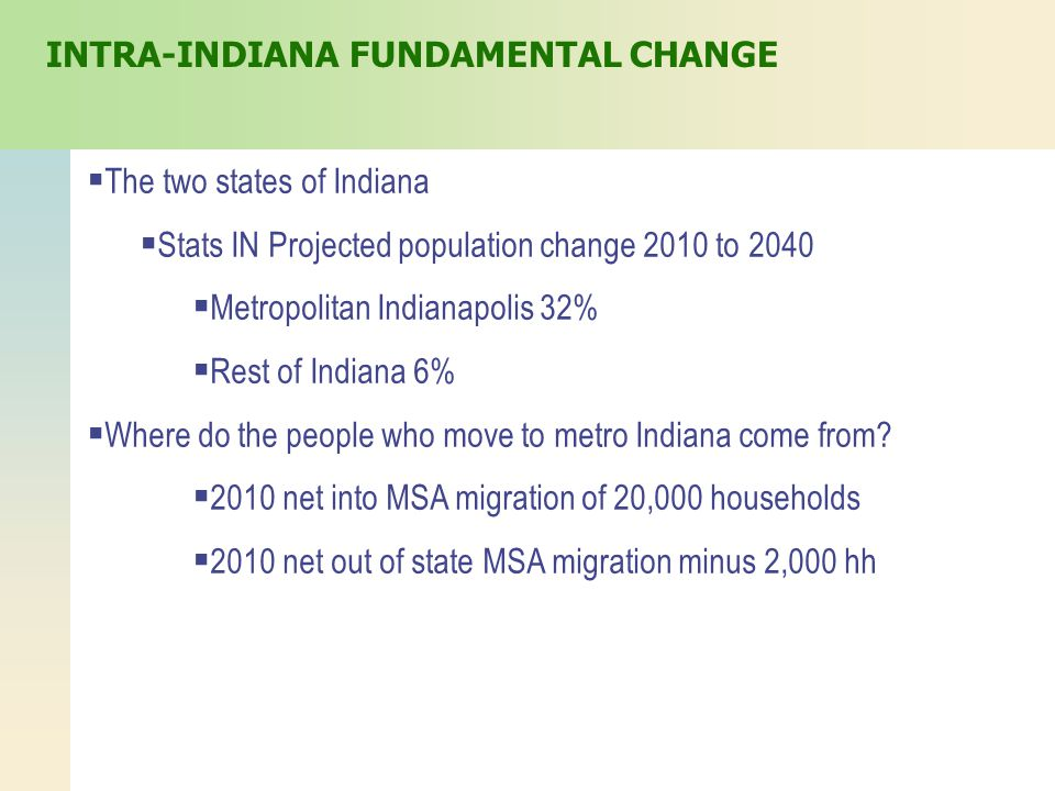  The two states of Indiana  Stats IN Projected population change 2010 to 2040  Metropolitan Indianapolis 32%  Rest of Indiana 6%  Where do the people who move to metro Indiana come from.