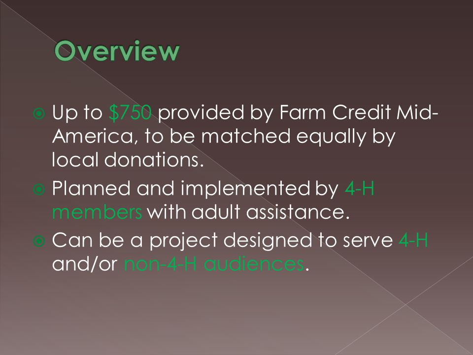  Up to $750 provided by Farm Credit Mid- America, to be matched equally by local donations.