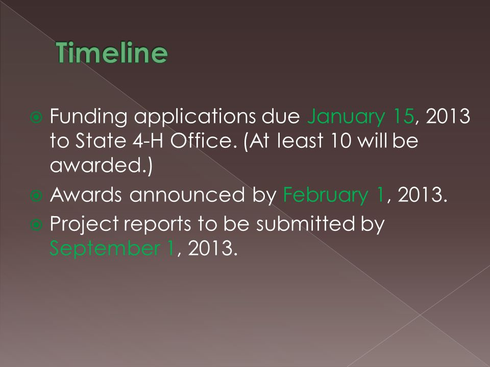 Funding applications due January 15, 2013 to State 4-H Office.