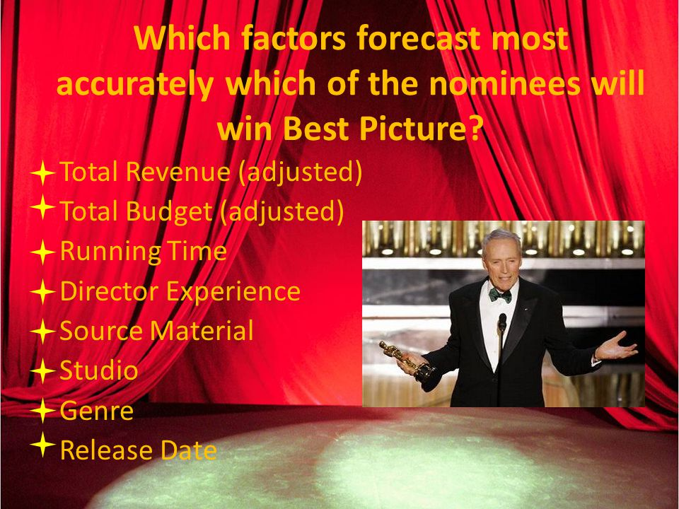 Which factors forecast most accurately which of the nominees will win Best Picture.