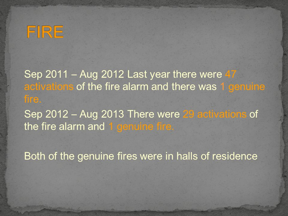 Sep 2011 – Aug 2012 Last year there were 47 activations of the fire alarm and there was 1 genuine fire. Sep 2012 – Aug 2013 There were 29 activations