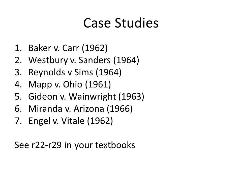 Case Studies 1.Baker v. Carr (1962) 2.Westbury v.