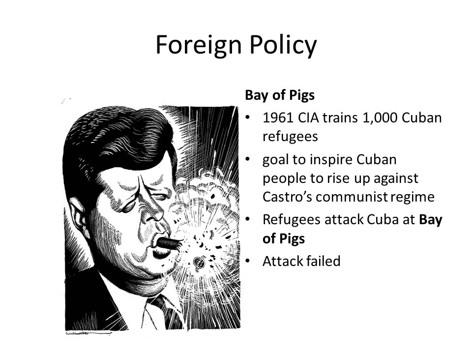 Foreign Policy Bay of Pigs 1961 CIA trains 1,000 Cuban refugees goal to inspire Cuban people to rise up against Castro's communist regime Refugees att