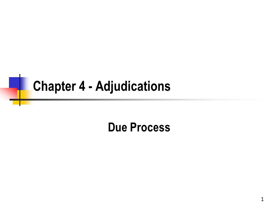 1 Chapter 4 - Adjudications Due Process
