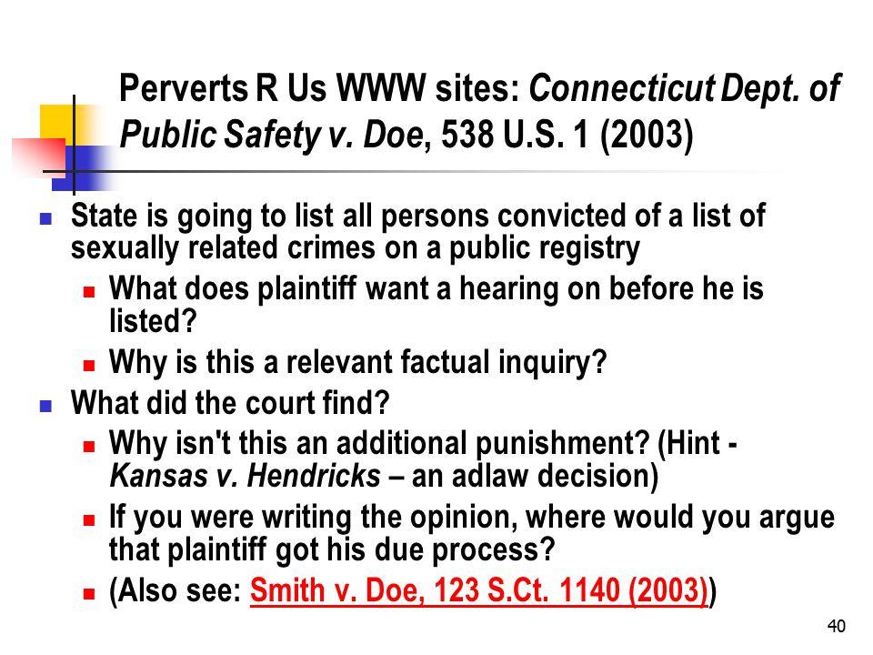 40 Perverts R Us WWW sites: Connecticut Dept. of Public Safety v.