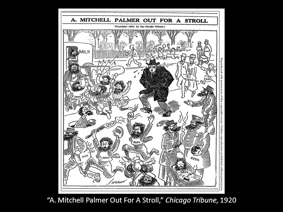 A. Mitchell Palmer Out For A Stroll, Chicago Tribune, 1920