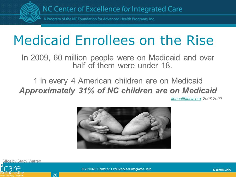 © 2010 NC Center of Excellence for Integrated Care icarenc.org 20 Medicaid Enrollees on the Rise In 2009, 60 million people were on Medicaid and over half of them were under 18.