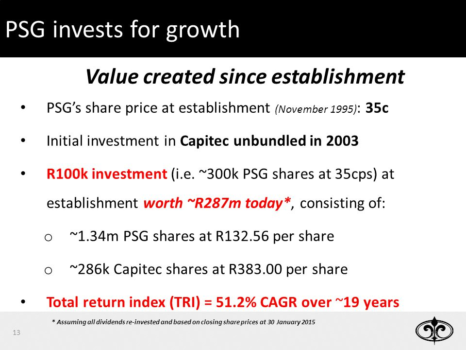 13 PSG invests for growth PSG's share price at establishment (November 1995) : 35c Initial investment in Capitec unbundled in 2003 R100k investment (i.e.