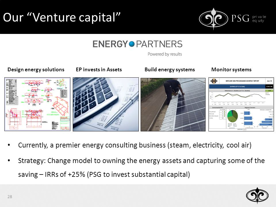 Design energy solutionsEP invests in AssetsMonitor systems Currently, a premier energy consulting business (steam, electricity, cool air) Strategy: Change model to owning the energy assets and capturing some of the saving – IRRs of +25% (PSG to invest substantial capital) 28 Our Venture capital Build energy systems