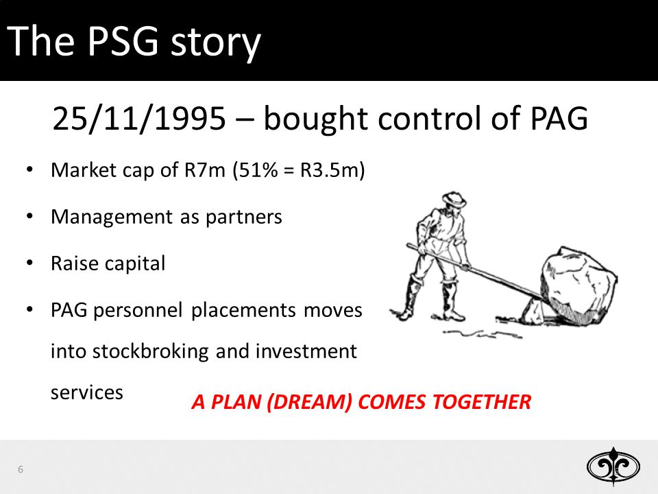 Market cap of R7m (51% = R3.5m) Management as partners Raise capital PAG personnel placements moves into stockbroking and investment services A PLAN (DREAM) COMES TOGETHER 25/11/1995 – bought control of PAG 6 6 The PSG story