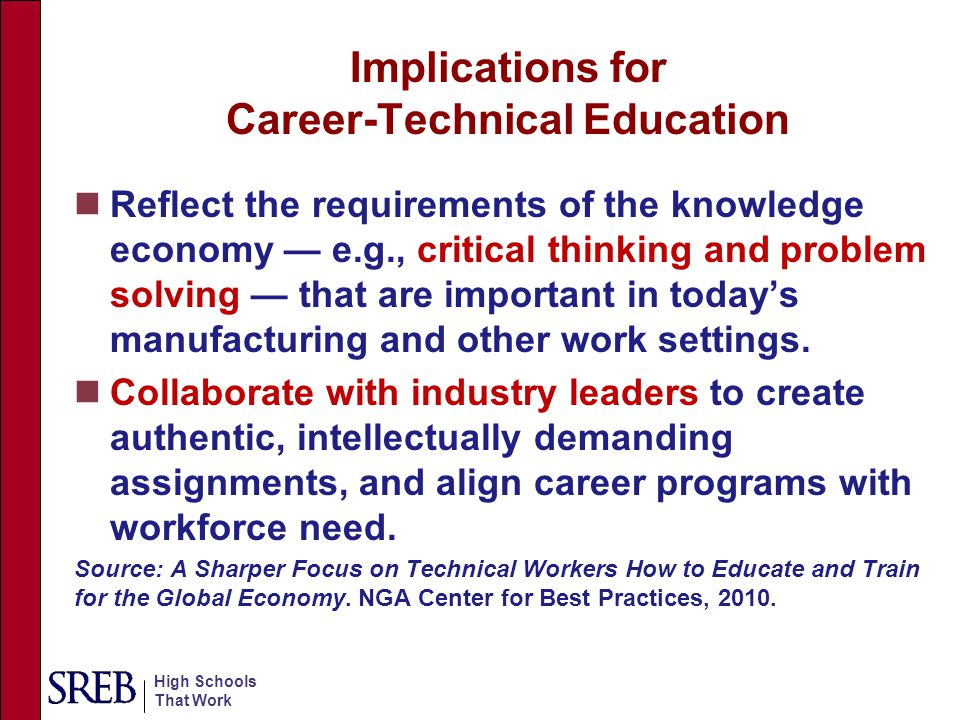High Schools That Work Implications for Career-Technical Education Reflect the requirements of the knowledge economy — e.g., critical thinking and pro