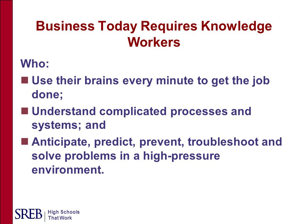 High Schools That Work Business Today Requires Knowledge Workers Who: Use their brains every minute to get the job done; Understand complicated proces