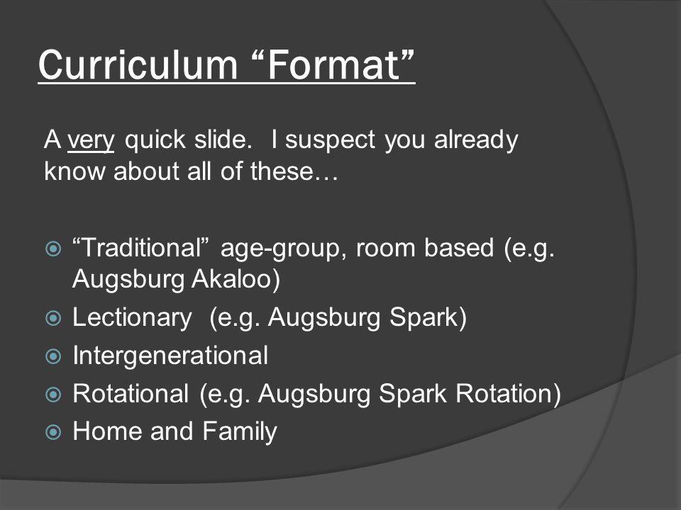Curriculum Format A very quick slide.
