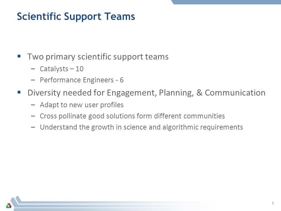 Scientific Support is Collaboration The ALCF is staffed with a team of computational scientists, expert in their domain, scalable algorithms and performance engineering.