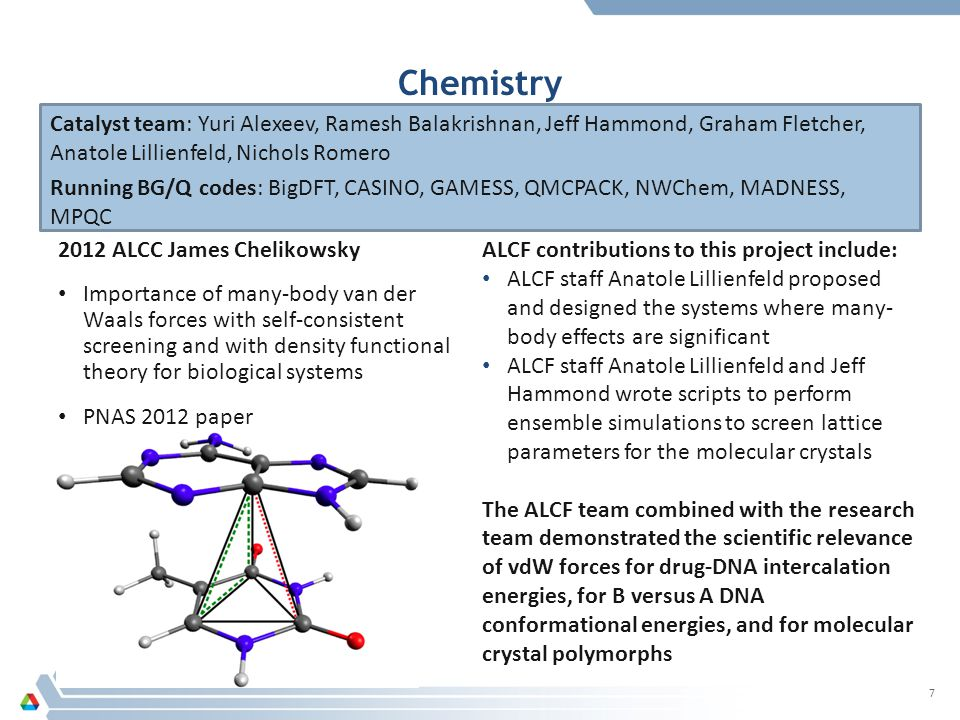 Chemistry 2012 ALCC James Chelikowsky Importance of many-body van der Waals forces with self-consistent screening and with density functional theory for biological systems PNAS 2012 paper 7 Catalyst team: Yuri Alexeev, Ramesh Balakrishnan, Jeff Hammond, Graham Fletcher, Anatole Lillienfeld, Nichols Romero Running BG/Q codes: BigDFT, CASINO, GAMESS, QMCPACK, NWChem, MADNESS, MPQC ALCF contributions to this project include: ALCF staff Anatole Lillienfeld proposed and designed the systems where many- body effects are significant ALCF staff Anatole Lillienfeld and Jeff Hammond wrote scripts to perform ensemble simulations to screen lattice parameters for the molecular crystals The ALCF team combined with the research team demonstrated the scientific relevance of vdW forces for drug-DNA intercalation energies, for B versus A DNA conformational energies, and for molecular crystal polymorphs