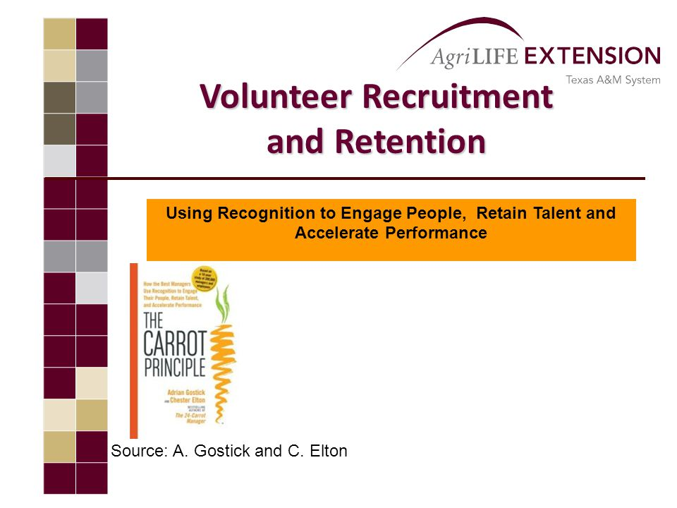 Volunteer Recruitment and Retention Using Recognition to Engage People, Retain Talent and Accelerate Performance Source: A.