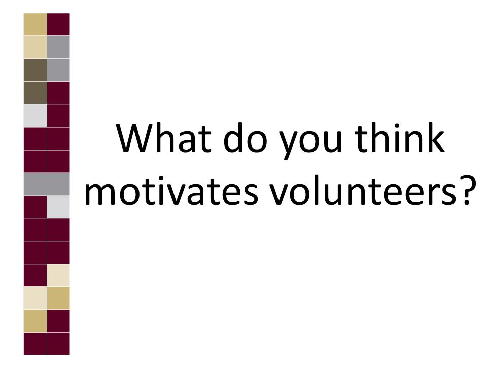 What do you think motivates volunteers