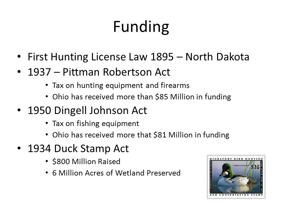 Funding First Hunting License Law 1895 – North Dakota 1937 – Pittman Robertson Act Tax on hunting equipment and firearms Ohio has received more than $85 Million in funding 1950 Dingell Johnson Act Tax on fishing equipment Ohio has received more that $81 Million in funding 1934 Duck Stamp Act $800 Million Raised 6 Million Acres of Wetland Preserved