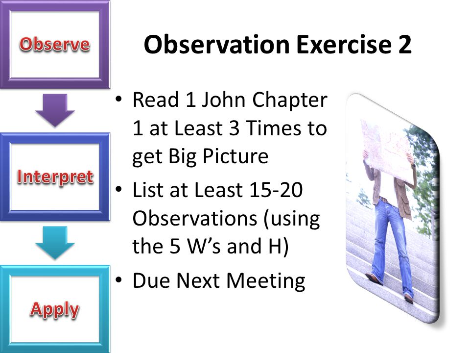 Observation Exercise 2 Read 1 John Chapter 1 at Least 3 Times to get Big Picture List at Least 15-20 Observations (using the 5 W's and H) Due Next Mee