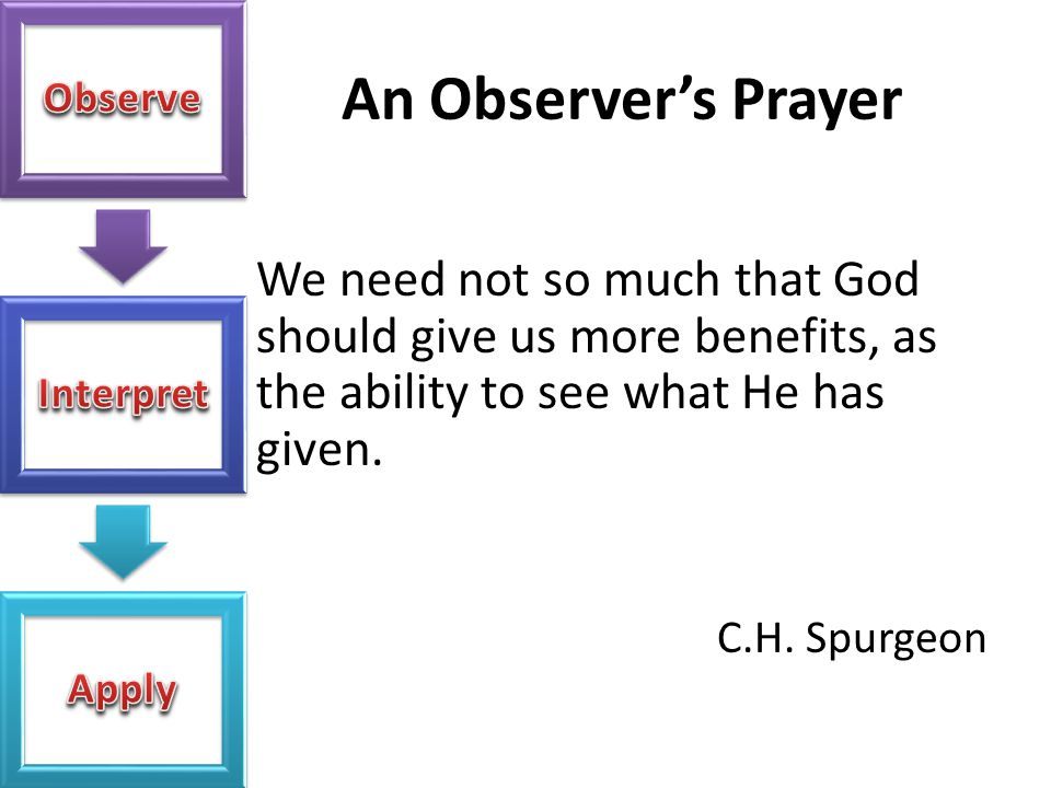 An Observer's Prayer We need not so much that God should give us more benefits, as the ability to see what He has given. C.H. Spurgeon