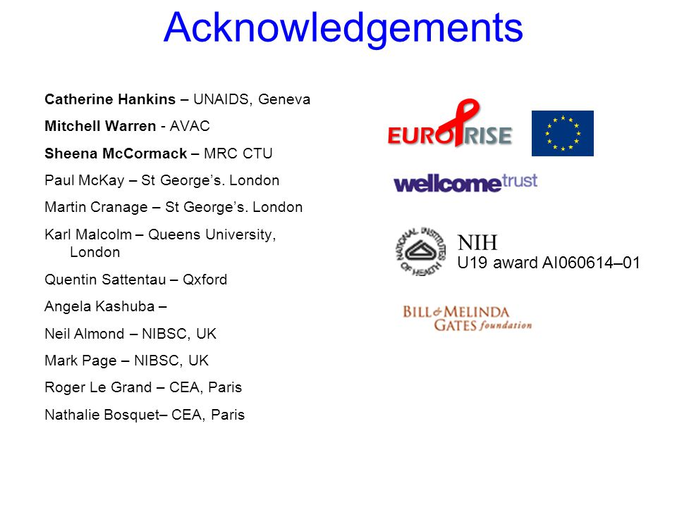 Acknowledgements Catherine Hankins – UNAIDS, Geneva Mitchell Warren - AVAC Sheena McCormack – MRC CTU Paul McKay – St George's.