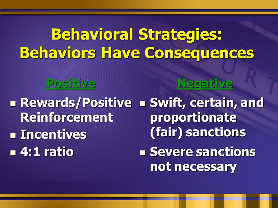 Behavioral Strategies: Behaviors Have Consequences Positive Rewards/Positive Reinforcement Rewards/Positive Reinforcement Incentives Incentives 4:1 ratio 4:1 ratioNegative Swift, certain, and proportionate (fair) sanctions Swift, certain, and proportionate (fair) sanctions Severe sanctions not necessary Severe sanctions not necessary