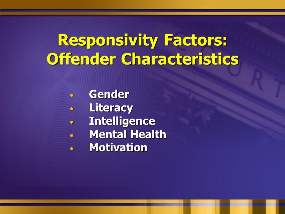 Responsivity Factors: Offender Characteristics Gender Gender Literacy Literacy Intelligence Intelligence Mental Health Mental Health Motivation Motivation