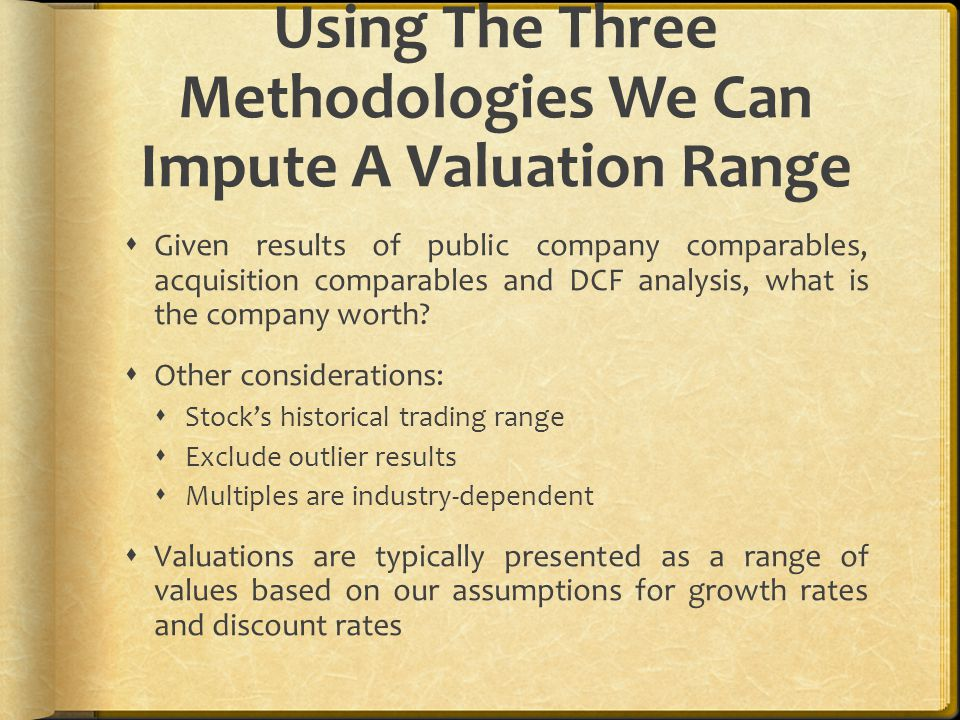 Using The Three Methodologies We Can Impute A Valuation Range  Given results of public company comparables, acquisition comparables and DCF analysis,