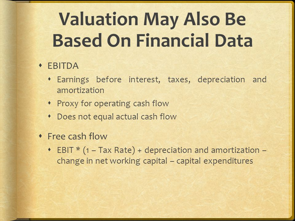 Valuation May Also Be Based On Financial Data  EBITDA  Earnings before interest, taxes, depreciation and amortization  Proxy for operating cash flow  Does not equal actual cash flow  Free cash flow  EBIT * (1 – Tax Rate) + depreciation and amortization – change in net working capital – capital expenditures