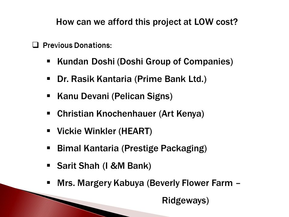 How can we afford this project at LOW cost?  Previous Donations:  Kundan Doshi (Doshi Group of Companies)  Dr. Rasik Kantaria (Prime Bank Ltd.)  K