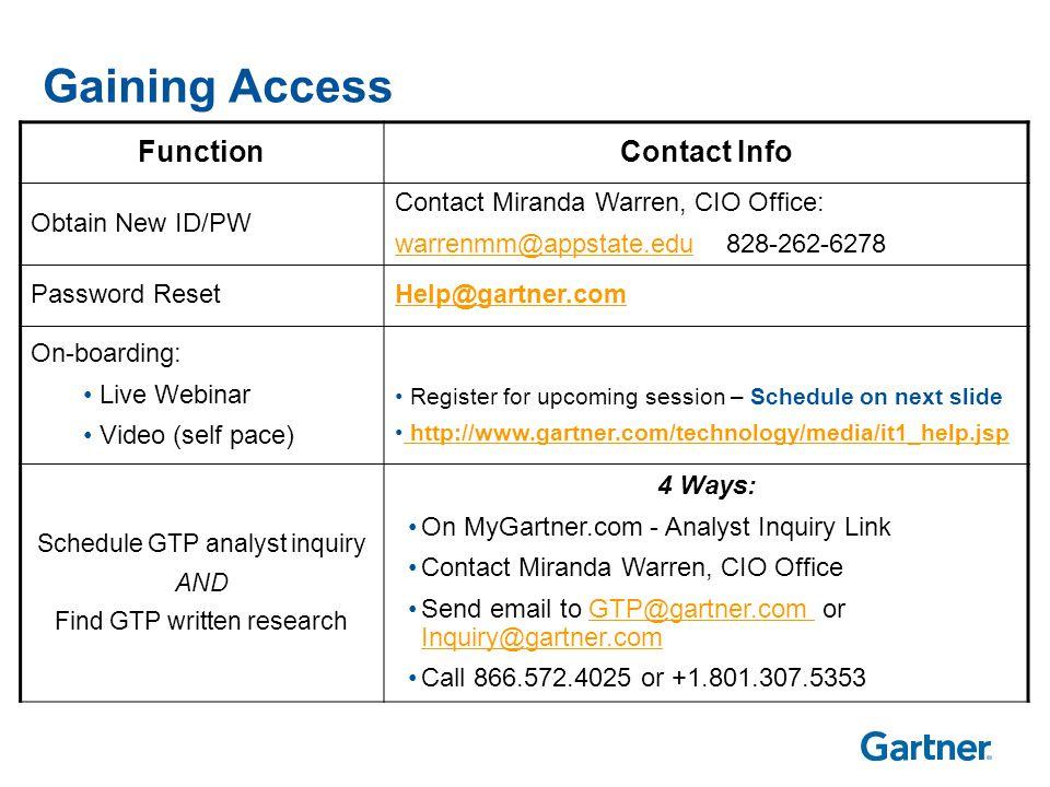 Gaining Access FunctionContact Info Obtain New ID/PW Contact Miranda Warren, CIO Office: warrenmm@appstate.eduwarrenmm@appstate.edu 828-262-6278 Passw
