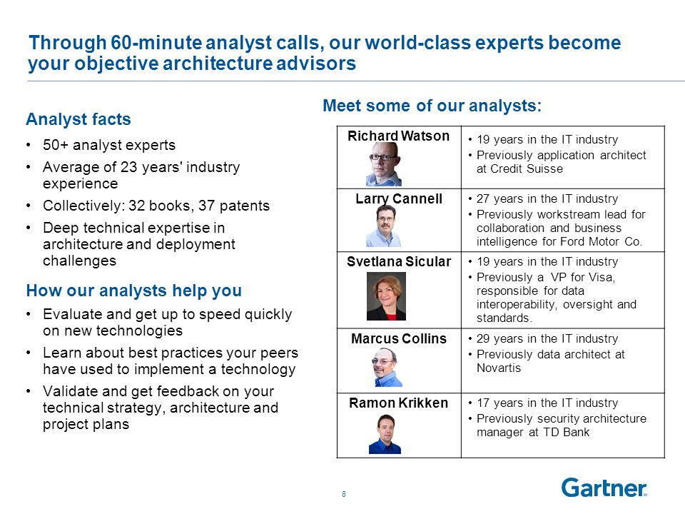 Through 60-minute analyst calls, our world-class experts become your objective architecture advisors Analyst facts 50+ analyst experts Average of 23 years industry experience Collectively: 32 books, 37 patents Deep technical expertise in architecture and deployment challenges 8 Richard Watson 19 years in the IT industry Previously application architect at Credit Suisse Larry Cannell 27 years in the IT industry Previously workstream lead for collaboration and business intelligence for Ford Motor Co.