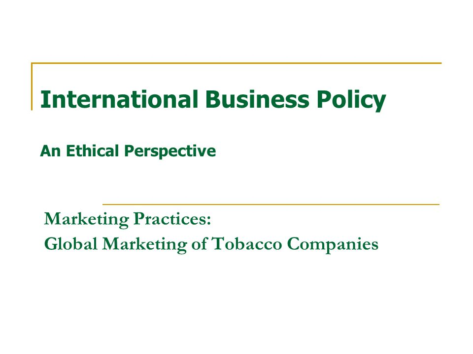 Tobacco as a Product For the smokers, to which extent does Tobacco raise a dilemma?