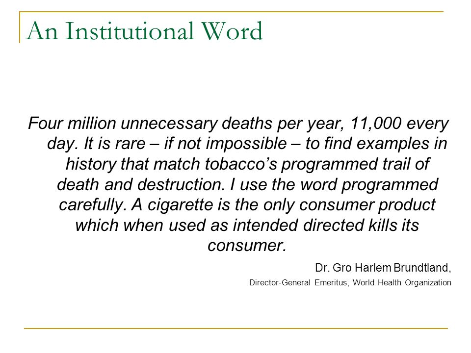 Tobacco as a Business As a business, to which extent does Tobacco raise a dilemma.