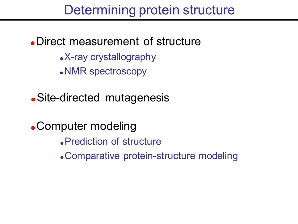 Determining protein structure  Direct measurement of structure  X-ray crystallography  NMR spectroscopy  Site-directed mutagenesis  Computer modeling  Prediction of structure  Comparative protein-structure modeling